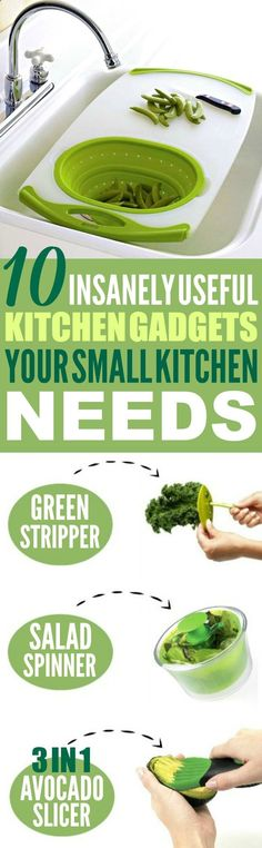 These 10 insanely useful kitchen gadgets and gizmos are THE BEST! Im so glad I found these AMAZING tips! Now I have some great kitchen gadgets to make my cooking easier! Definitely pinning!