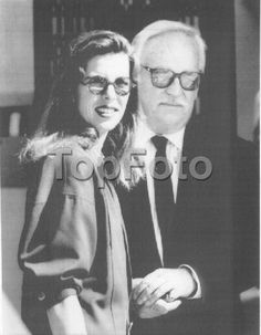 Prince Rainier of Monaco and his daughter Caroline arriving at a Los Angeles hotel. 1985.