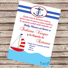 Natical or Marine Baby Shower Invitation in Spanish or English. $10.00, via Etsy.