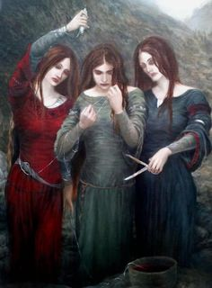 The Fates: Three maidens who decided your fate. Norse mythology - the Norns - Urd, Verdandi, Skuld. Roman Mythology, Norse Mythology, Greek Mythology, Ancient Goddesses, Gods And Goddesses, Three Witches, Triple Goddess, Greek Gods, Folklore