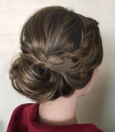 Soft and romantic upstyle with dutch braid side detail I created for the maid of…