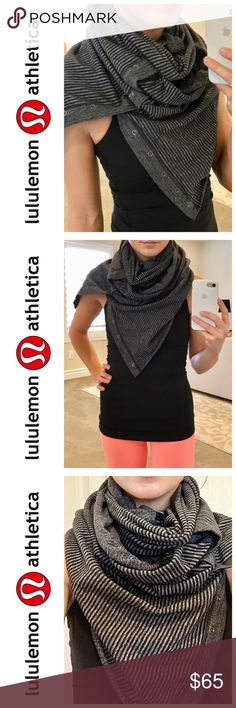 Lululemon Vinyasa Scarf in Black Pique Layer up and get cozy in this no-fuss, customizable scarf. Snap closure allows 10+ ways to wear, and the versatile color will go with everything! Reversible. Super rare pattern. EUC.  Trades Holds Mercari lululemon athletica Accessories Scarves & Wraps