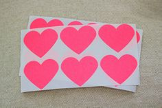 Large Heart Stickers  Neon Pink  24 stickers by CaliforniaCraft, $ 5.00