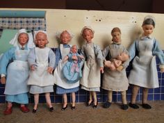 German Caco doll house nurses and babies.  Ca. 1950's - 1960's.
