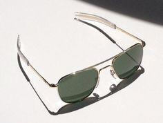 b83ef898e1ba AO Eyewear Original Pilot 55mm Gold Frame with Bayonet Temples and True  Color Green Glass Lens