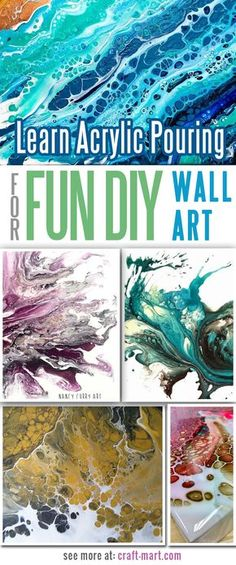 You don't have to study hard to have fun creating canvas wall art with the acrylic pouring technique! Easy to learn - great results.
