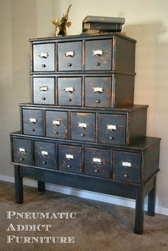 Pneumatic Addict Furniture: Milk Paint Card Catalog. Made from just drawers.