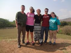 Micah, Lyndsay, Rebekah, Tim and Jessica show off their Missouri State spirit during a visit to the San Andres Mayan Ruins while on a mission trip to El Salvador.