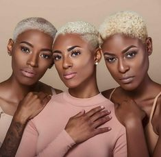 For the love of a short blonde cut on melanin skin! , you all look 👌🏽👑👑👑. Black Women Short Hairstyles, Cute Short Haircuts, Short Hair Cuts For Women, Short Cuts, Tapered Natural Hair, Natural Hair Styles, Short Hair Styles, Fade Styles, Twa Hairstyles
