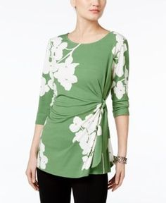 Alfani Printed Side-Tie Top, Only at Macy's - Green