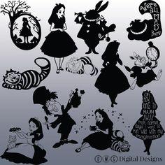 12 Alice In Wonderland Silhouette Images par OMGDIGITALDESIGNS