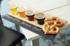 Beer flight, beer tasting, Flight of beer, beer tasting party, beer and pretzels, tasting cups