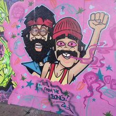 london streetart underthewestway graffiti cheech and chong bong