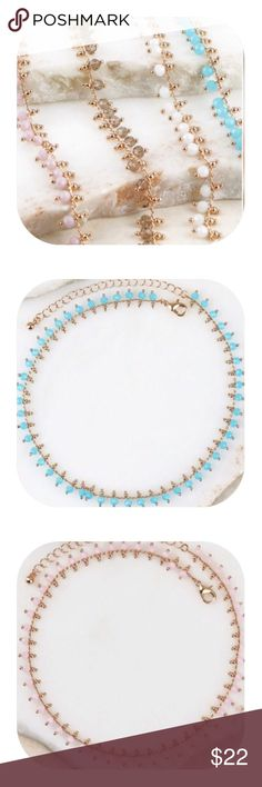 """Crystal bead choker necklaces Crystal bead choker necklaces in pink, turquoise or black diamond.  All have gold trim.  Approx 12"""" extended. GlamVault Jewelry Necklaces"""