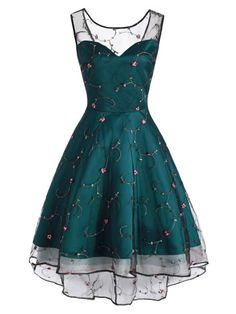 Sleeve Floral Embroidery Dress – Retro Stage - Chic Vintage Dresses and Accessories Cute Prom Dresses, Grad Dresses, Party Dresses For Women, Elegant Dresses, Pretty Dresses, Homecoming Dresses, Beautiful Dresses, Sleeveless Dresses, Prom Gowns