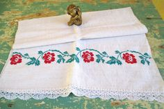 420. European flax linen towel, vintage organic linen towel, handloomed pure flax linen towel, homespun hand embroidered towel (unused) Hungarian Embroidery, Embroidered Towels, Linen Towels, Off White Color, Drapes Curtains, Damask, Quilt Blocks, Organic, Pure Products