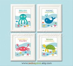 Bathroom Art Print Set - 5X7- Kids bathroom wall decor, bathroom rules, nautical, colorful - UNFRAMED