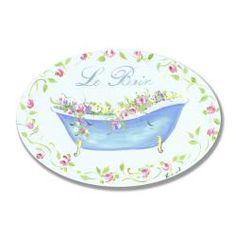 Blue Tub Floral Le Bain Plaque Oval