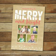 This festiveChristmas card features the text Merry and bright with a colorful string of lights! The text and colors can be customized!  Scroll