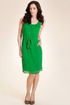 Scoop neck applique dress @ M
