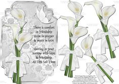 This stunning but simple card topper features white lilies and a white butterfly. It is easy to make with a few decoupage layers and is perfect for those sad occasions. Sympathy Quotes, Sympathy Cards, Stickers 3d, Religious Symbols, Card Sentiments, White Lilies, 3d Cards, White Butterfly, Decoupage Paper