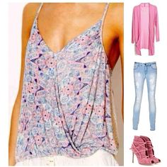 ⭐️HOST PICK⭐️  NWT FREE PEOPLE PASTEL FLORAL TOP NWT FP MILES AWAY TANK COMBO. IVORY, PINK, BLUE PRINT.  W/ DRAPED NECK, CROCHETED SIDES.                                                  95% RAYON   5% SPANDEX Free People Tops
