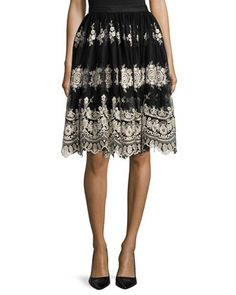Justina+Embroidered+Tulle+Skirt,+Black/Gold+by+Alice+++Olivia+at+Neiman+Marcus.