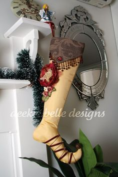 Shabby Rose Christmas Stocking in Gold by Rusty Bella (READY TO SHIP)