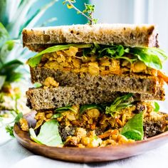 Sweet pineapple and spices of the Caribbean liven up this delicious chickpea salad sandwich.