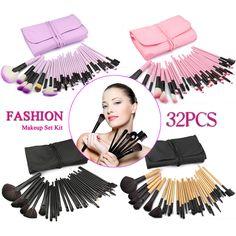32pc Purple Professional Soft Cosmetic Eyebrow Shadow Makeup Brush Set Bag Case