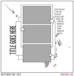 paper: Sketch to Scrapbook Page :: A vertical design for smaller photos Scrapbook Layout Sketches, Scrapbook Templates, Card Sketches, Scrapbooking Layouts, Digital Scrapbooking, Recipe Scrapbook, Scrapbook Paper Crafts, Scrapbook Cards, Scrapbook Titles