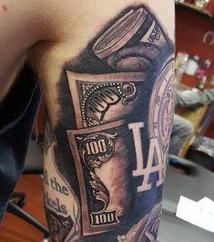 Men's Get Money Tattoos On Upper Arm