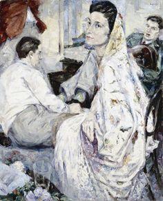 Spanish Shawl by Louis le Brocquy (Irish shawl, at least, is Spanish. Art And Illustration, Irish Painters, Artsy Photos, Irish Art, Chiaroscuro, Portrait Art, Cool Artwork, Modern Art, Contemporary