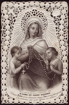 Mary Queen of the Rosary Holy Card
