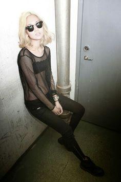 Grunge / Fishnet top / Blonde asian / Monochrome fashion / Minimalism