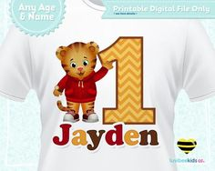 Daniel Tiger Iron On Transfer for Boy or Girl, Yellow Red & Brown, Any Name & Age, You Print
