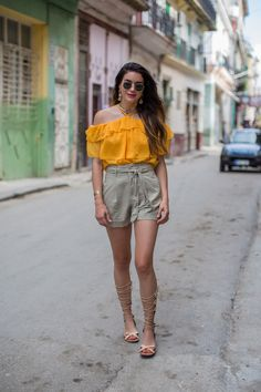 Havana Nights with H&M   Thrifts and Threads. Mustard halter cold shoulder ruffle blouse+grey-beige shorts+nude lace-up flat sandals+earrings+necklaces+sunglasses. Summer Casual Outfit 2017