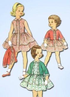 1950s Vintage Tot Girls Dress Uncut 1958 Simplicity Vtg Sewing Pattern Size 3 #SimplicityPattern #DressPattern