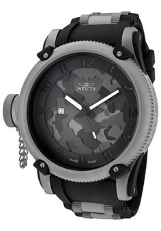 Invicta Men's Russian Diver Limited Edition Night Owl Black Camouflage Dial Black Polyurethane - unique and manly