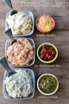 Three delicious cheese spreads made with just 3 ingredients each! Why choose between Wasabi Cheddar, Sun Dried Tomato Feta, and Pesto Parmesan when it's so easy to make all three? Eat them with crackers, pretzels, or even veggies for an awesome snack or party appetizer!  Let's just get this out there. I'm a complete sucker for anything I can put on top of something else. Dips, dressings, drizzles.....toppings of any kind.....sign me up! And plan on me eating more than my fair sha...
