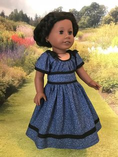 American Girl Addy/'s Flower Picking Dress NIB Retired /'06 Outfit Bouquet Blue