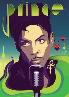 Prince portrait- green and red hearts by Anthony Malzone