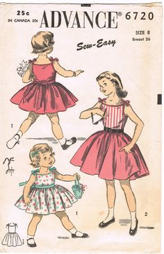 Advance 6720 - Vintage 1940s (?) Sewing Pattern - Children's Dress
