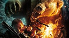 Wallpaper bear, grizzly man, roar, a revolver, fire