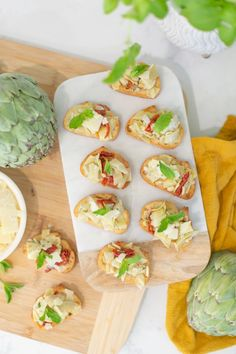 Try this simple artichoke bruschetta recipe for a delicious and quick appetizer. Perfect for antipasto and entertaining at home. It's a great summer party recipe idea, and a no-fail delicious side dish. Bruschetta Toppings, Bruschetta Recipe, Quick Appetizers, Appetizer Recipes, Meal Recipes, How To Make Artichokes, Easy Meal Prep, Easy Meals, Canned Artichoke Hearts