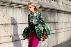 Hanne Gaby Odiele in a Dries vVan Noten jacket photographed by Phil Oh at Paris fashion week