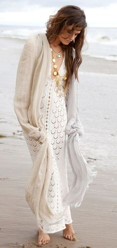 boho white dress, necklace, long scarf