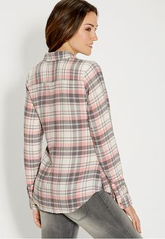 soft button down plaid shirt in pink and gray - maurices.com