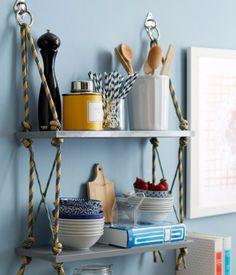 DIY Shelves and Do It Yourself Shelving Ideas - Wrap Up Rope Shelves - Easy Step by Step Shelf Projects for Bedroom, Bathroom, Closet, Wall, Kitchen and Apartment. Floating Units, Rustic Pallet Looks and Simple Storage Plans #diy #diydecor #homeimprovement #shelves Diy Hanging Shelves, Rope Shelves, Wooden Shelves, Floating Shelves, Hanging Rope, Wall Shelves, Toilet Shelves, Hanging Baskets, Diy Projects Design