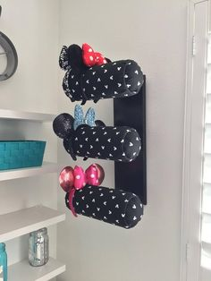 [orginial_title] – Jeri Neves Wall Display/Triple Row-Black and White Mickey Print (other print options available in drop down)/Different Base Colors Available Wall Display for Minnie Ears-Triple Row > by [author_name] Disney Diy, Disney Merch, Diy Disney Ears, Disney Mickey Ears, Disney Crafts, Disney Ideas, Earing Holder, Disney Rooms, Decoration